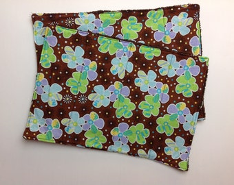 SALE! - Flower Burp Cloths - Baby Burp Cloths - Brown Burp Cloths - Baby Burping Cloths - Homemade Burp Cloths - Baby Clothing - Baby Bib