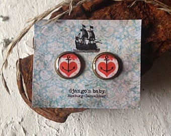 Sweetheart.Anchor Heartanchor Anchorheart Heartanchor.Heart Hearts.Anchorjewelry.Maritime ear studs.Nautical jewellery.Pinup Rockabilly.red