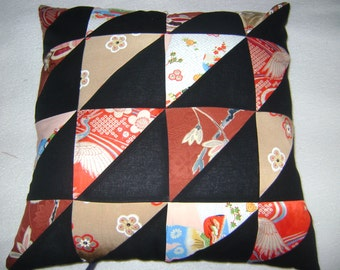 """Silk and Cotton 16 patch triangle pillow 18"""" by 18"""" pillow"""