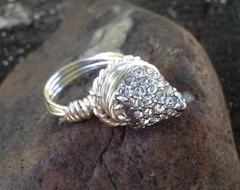 Sparlky Silver Spike Ring