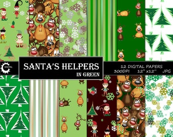 Santa's Helpers in Green - Digital Paper Collection 12x12