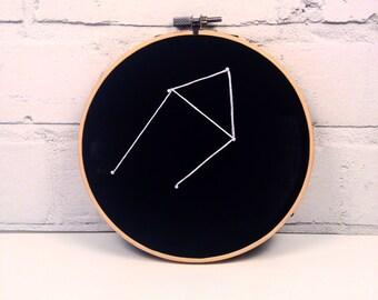Libra Constellation - Libra Star Sign - The Scales - Embroidery Hoop - Zodiac Art - Horoscope - Zodiac Wall Art - Birthday Gift