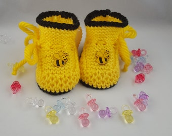 Yellow and Black knitted baby booties with a bee
