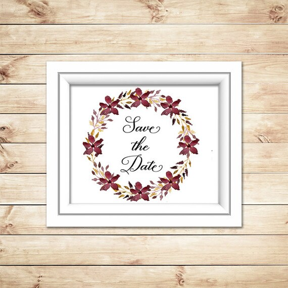 Save The Date Wedding Floral Ornament Wedding Floral: Save The Date Burgundy Flower Wreath Wedding By