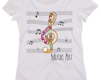 Custom organic cotton crew neck t-shirt Woman MUSIC ART