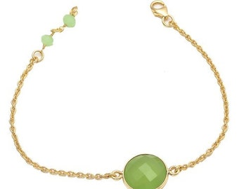 Gold vermeil and Sea Green Chalcedony bracelet-Bridesmaid Gift
