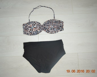 Retro 80s high waist bandeau bikini