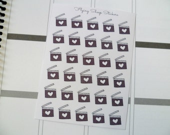 Neutral Film Slate/Clapperboard Icon Planner Stickers