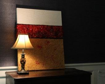 Mixed Media with Texture and Bold Red Colors
