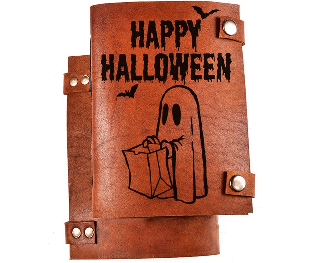Halloween gift - 31 October gift - leather journal - engraved leather notebook - happy Halloween - ghost journal