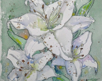 Lily art watercolour painting flower art white lily