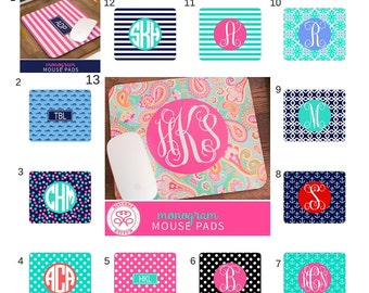 Monogram Mouse Pads/ Personalized Mouse pads/ Personalized office supplies