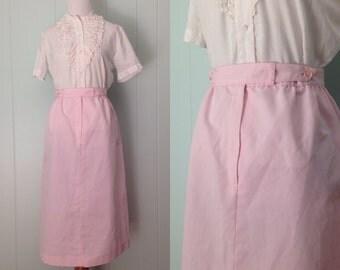 1980s Ship 'n Shore Skirt   80s Pink Striped Skirt   Vintage Pinstriped Skirt