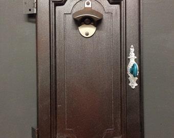 Cabinet door up-cycled into Bottle opener.
