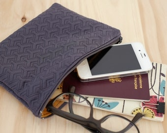 Graphic zipped pouch