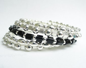 Black & Silver Memory Wire Bracelet