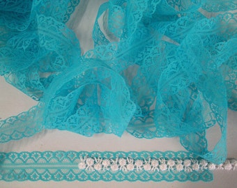 Vintage flat lace trim English made turquoise, peacock blue 10 yards BARGAIN