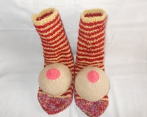 Crochet Boobie socks Boob gift bachelor groom knitted breast funny adult unisex winter warm cozy gift mature nacked woman