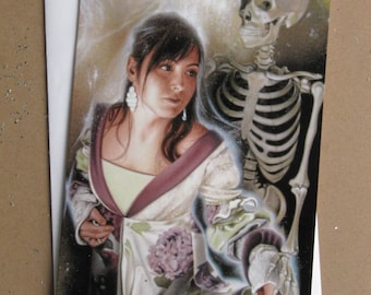 Greeting Card: Skeleton and girl