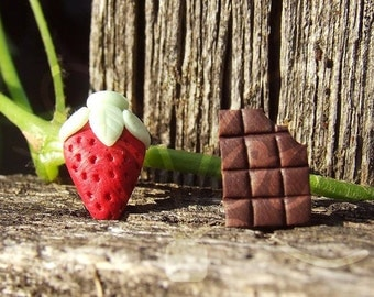 Strawberry and Chocolate - Strawberry Earrings - Strawberry and Chocolate Earrings - Fruit Earrings - Fruits Jewelry - Chocolate Jewelry