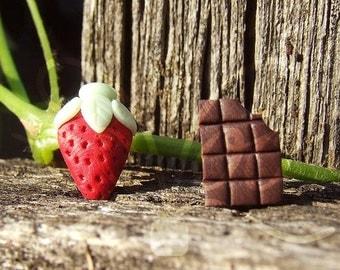 Strawberry and Chocolate - Strawberry Earrings - Strawberry and Chocolate Earrings - Fruit Earrings - Fruits Jewelry - Chocolate Jewelry