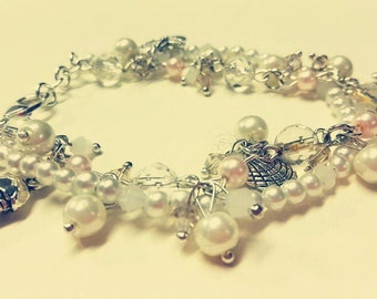 Double White and pink Glass Pearl Charm Bracelet