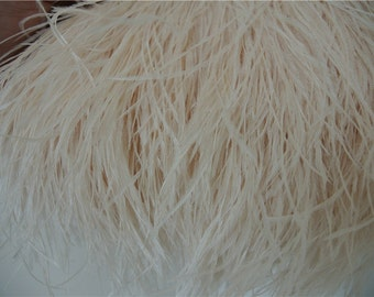CREAM / ivory Ostrich feather fringe trim 10 yards for sewing