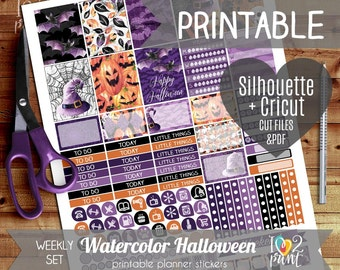 Watercolor Halloween Weekly Printable Planner Stickers, EC Planner Stickers, Weekly Planner Stickers, Halloween Stickers  - Cut files