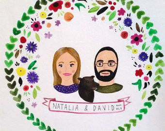 Custom Couple or Family (with Child or Pet) Portrait in Gouache/Watercolor - FRAMED