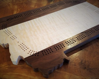 Cribbage Board, Montana state, wooden cribbage, curly maple, 3 track, 2 track, Three track cribbage, 2 Track Cribbage, Hardwood, Rustic