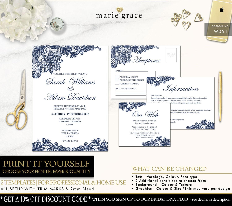 Wedding Invitation Navy Blue And Lace Wedding Invitation