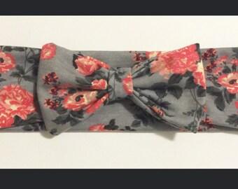 Gray Floral Headband
