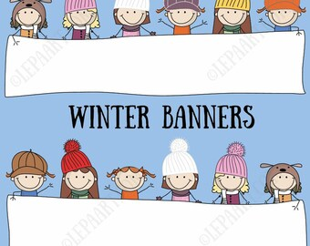 Winter banner Clipart set Stick girls, classroom decor .ai .eps editable VECTOR, Digital clipart Christmas PNG JPG Commercial Use CH005