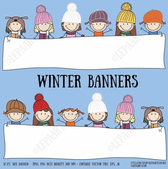Winter banner Clipart set Stick girls classroom decor .ai