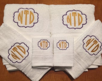 Two Tone Monogrammed Towel Set, Monogrammed/embroidered Bath Towels-  College colors- Sports Team Colors- Two Colors