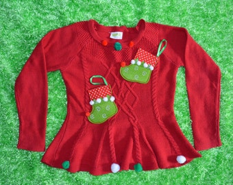 L 10-12 Kids, Ugly Christmas Sweater with elf Stockings, Girls, red
