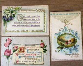 Vintage Birthday Postcards - Set of 3