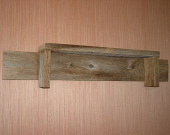Rustic Weathered Reclaimed Oak Barn Wood Shelf, Handmade, One of a Kind, Shabby Chic
