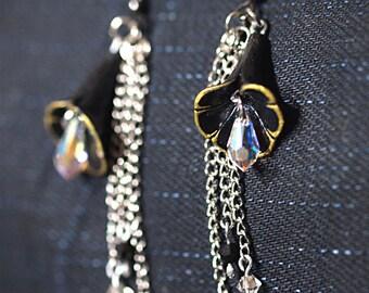 Black Lily Earrings