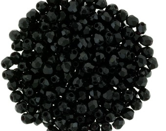 Czech Glass Beads - Round Faceted Beads - Fire Polished Beads - Jet (Black) Beads - 2mm - 50 Beads