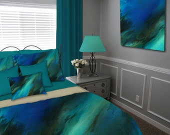 Contemporary Duvet cover, Master Bedroom decor, Cobalt blue brown, Teal aqua turquoise, Abstract Bedding set, Queen Full King Twin,  Modern