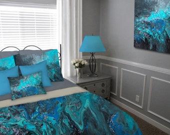 Duvet Cover, Teal turquoise blue black gray aqua, Bohemian Bedding set, Abstract, Master bedroom decor, King Queen Full Twin, Modern decor