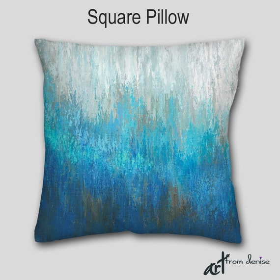 Throw Pillow Teal Turquoise Aqua Abstract Art Accent