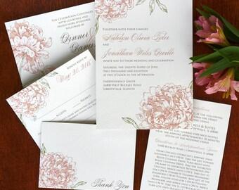 Peony Wedding Invitation Set - Digital Invitation Suite - Digital Wedding Invite - Custom Wedding Invitations - AV8077
