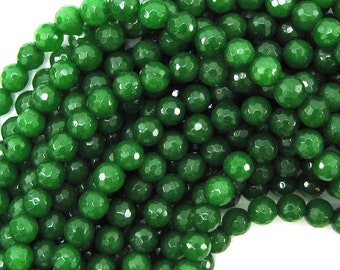 """8mm faceted emerald green jade round beads 15"""" strand 30374"""