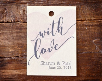 Favor Tags - Personalized for Weddings and Events - With Love, Watercolor Heart Background