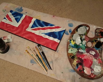 Flag canvases, uk, Great Britain, Union Jack design #1 handmade, painted, acrylic