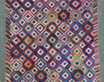 "American Vintage Silk Quilt - 46"" x 58"" - 117 x 147 cm. Free shipping!"