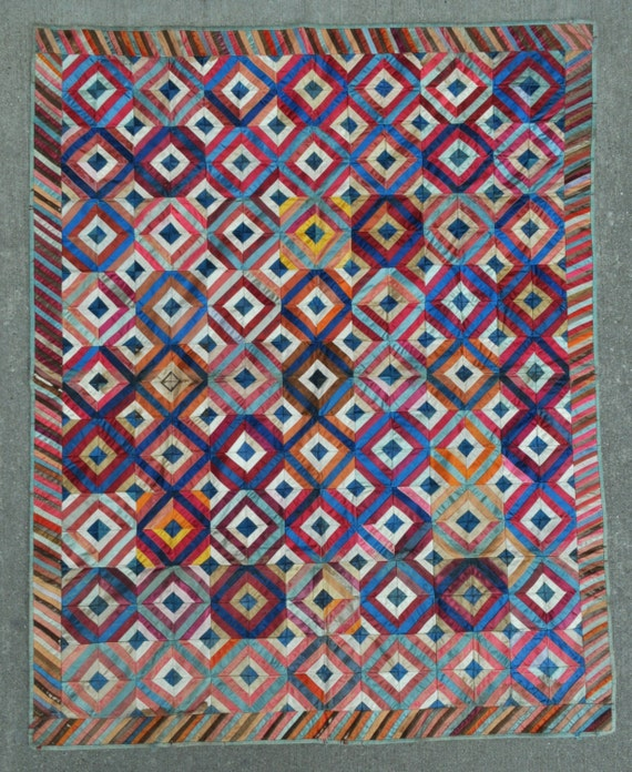 "Silk American Vintage Quilt - 46"" x 58"" - 117 x 147 cm. Free shipping!"