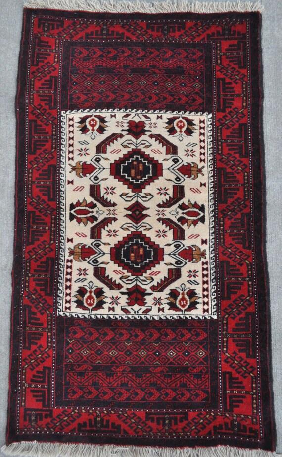 Vintage Baluch rug, Handmade wool area rug - 2'8 x 4'7 - Free shipping!